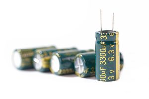 close up color capacitor on white blackground